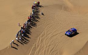 sabbia, blu, sport, Auto, persone, macchina, Volkswagen, fan, giorno, deserto, vista dall'alto, calore