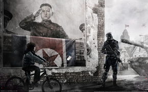 DPRK, poster, bicycle, leader, soldier, Kim Jong-un