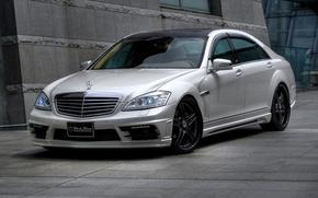 luce, Mercedes, tetto scuro, macchina, macchinario