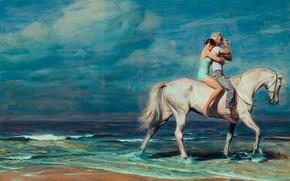мужчина, двое, конь, берег, женщина, вода