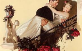 двое, картина, женщина, платье, рисунок, мужчина, цветы
