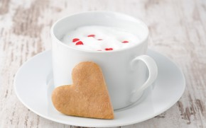 mug, milk, cup, heart, cookies, saucer