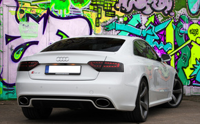 graffiti, Audi, white, wall, Audi