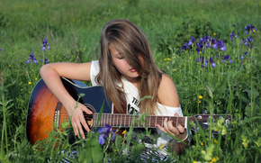 Greens, Streicher, Wiese, Gras, Geier, Gitarre, Deck, Grn, Mdchen, Natur