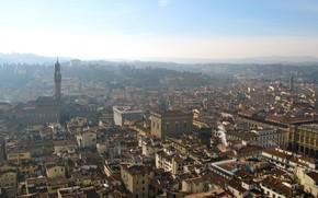 Firenze, citt, edificio, orizzonte, cielo