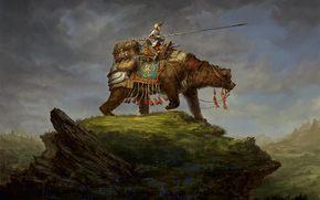 armor, Art, on horseback, Warrior, spear, rider, wayfarer, luggage, hill, bear