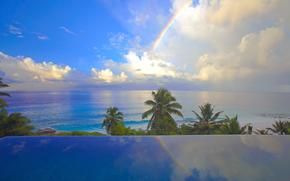 seychelles, arco iris, ocano