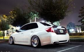 авто, на улице, машина, огни, Subaru, белая
