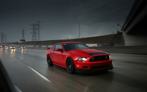rain, Wire, motion, rate, road, track, ford, bridge, Mustang, ford, machine, red, sports car