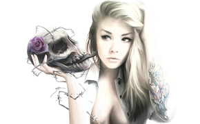 tattoo, girl, barbed wire, white background, rose, skull