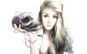 tatuaje, nia, alambre de espino, fondo blanco, rosa, crneo