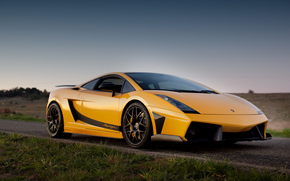оранжевый, небо, трава, Lamborghini, галлардо, дорога, ламборгини