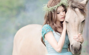 настроение, девушка, конь