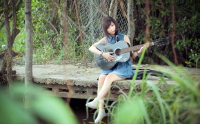 menina, msica, guitarra