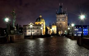 lumires, soire, personnes, lumire, pierre, Ville, rpublique tchque, Prague, nuit, Sculpture, Pont Charles