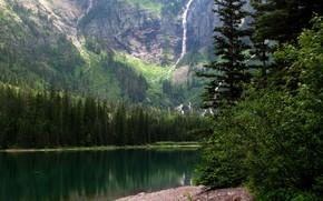 горы, река, деревья, пейзаж