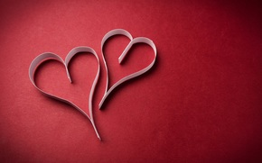paper, Hearts, red background, Strips, heart