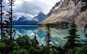 пейзаж, озеро, горы, деревья, озеро Боу, нац. парк Банф, Альберта, Канада