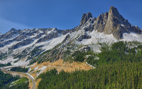 Liberty Bell montagna, North Cascades, Washington, Montagne, foresta, strada