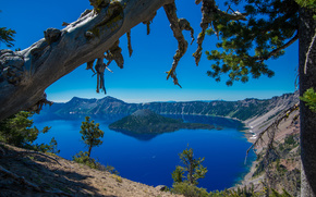 crater lake, crater lake national park, oregon, Озеро Крейтер, Орегон, остров, деревья