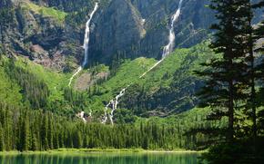avalanche lake, glacier national park, montana, Глейшер, Монтана, озеро, горы, водопады