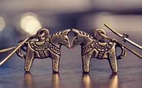 Horse, bijouterie, Earrings, love, Horses, bronze, macro