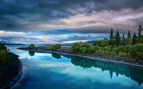 Neozelandese, fiume, alberi, cielo, paesaggio