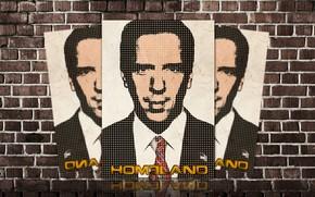 Tijolos, srie, parede de tijolos, homem impar para fora, Nicholas Brody, casa, Damian Lewis