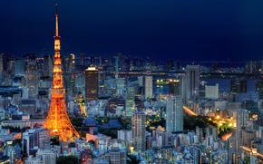 Japon, tokyo, capital, Japon, Tokyo, capital, mgalopole, lumires, clairage, tour, maison, btiment, Gratte-ciel, nuit, Bleu, ciel
