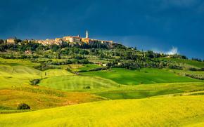 pienza, tuscany, italy, Pienza, Tuscany, Italy, field, panorama