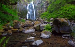 rocks, stones, waterfall, river, landscape
