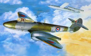 союзников, истребитель, в, реактивный, британский, первый, единственный, самолет, принимавший, арт, участие