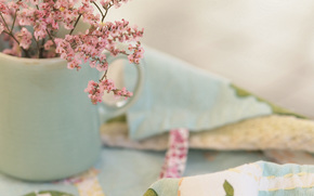мелкие, ваза, ткань, цветы