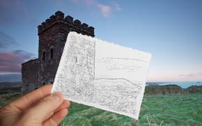 море, трава, рука, башня, берег, лист, рисунок, замок, форт