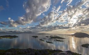 tramonto, verdura, nuvole, mare, isolotti, lago, vista, Rocks