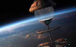 station, atmosphere, ball, Art, space, ship, clouds, scope, planet