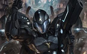 helmet, armor, Art, hand, soldier, weapon