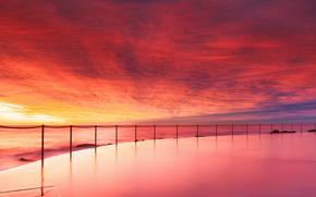 esgrima, playa, piscina, cadena, tarde, ocano, las nubes, Australia, puesta del sol, cielo, costa