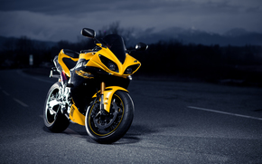 Motorcycles, black, night, road, Yamaha, Superbike, yellow