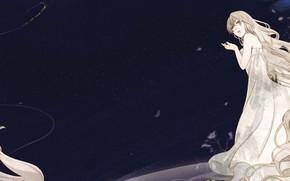 звезды, платье, девушка, ночь, волосы, арт