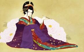 ragazza, Arte, sfondo, boccaglio, geisha, chimono, Peonie, fiori