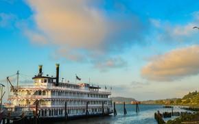 statek, retro, Astoria origon, krajobraz.