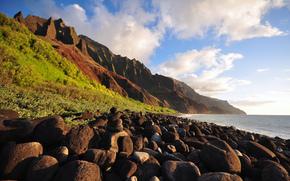 stones, Mountains, Sea