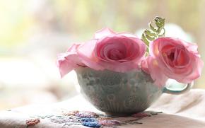 Roses, rosa, boccale, ricamo, fiori, tovagliolo