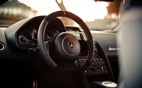 Steering wheel, Lamborghini, salon, devices
