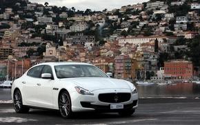 Город, Лого, Maserati, Фон, Вода, Белый