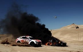 fumar, fuego, mquina, da, Vista lateral, arena, helicptero, llama, carrera, calor, desierto, Coche, Mitsubishi, SUV, Deporte