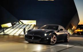 nuit, noir, lumires, dgradation, btiment, Maserati