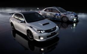 vinile, asfalto, due, bagnato, Auto, Subaru, Sintonia, macchina, due, bagnato, bianco, riflessione, sera