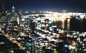 Ville, seattle, btiment, USA, lumires, nuit